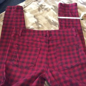 Forever 21 red plaid skinny jeans